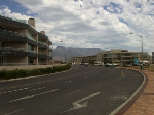 Table Mountain from the entrance to the Business & Residential Area at Milnerton Lagoon Mouth
